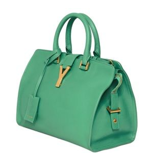 Saint Laurent Green Small Cabas Y Leather Bag